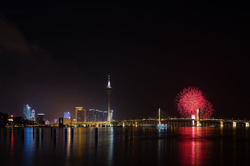 Macau Night Illuminated Travel Destinations River Built Structure Architecture Tourism City Outdoors Stories From The City