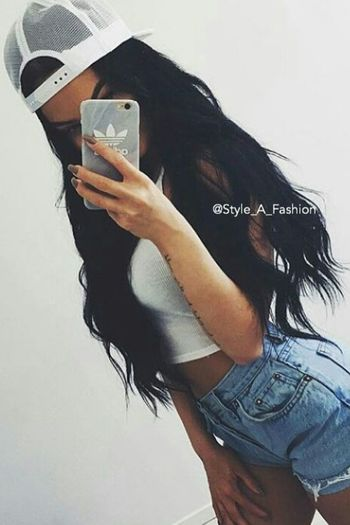 Longhair Girl Fashion Black Adidas Cap Style_a_fashion