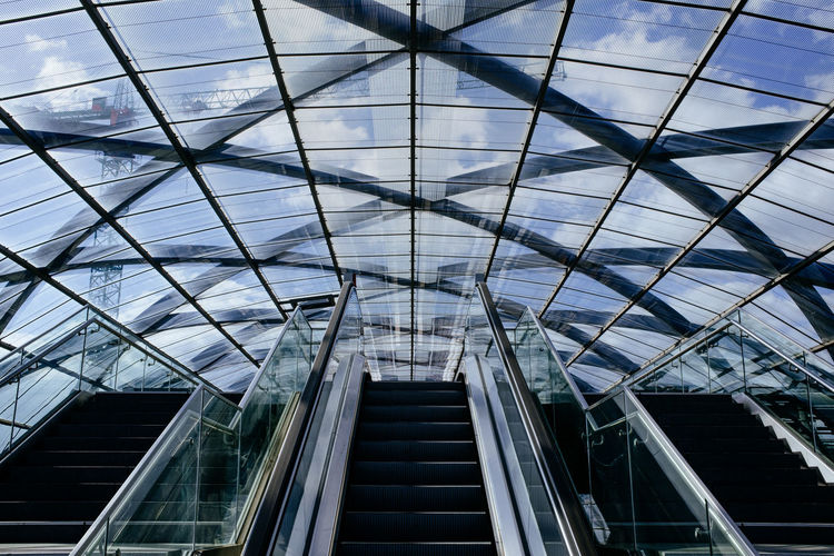 Modern glass roof over escolator and stairs