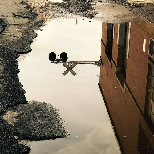 High angle view of puddle in lake during rainy season
