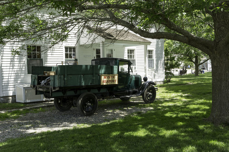 Old Mystic Seaport Homestead Antique Car Homestead Mystic Seaport Mystic Seaport Village Old Truck Antique Truck Architecture Branch Built Structure Day Grass Green Color Historic Museum Nature No People Outdoors Transportation Tree
