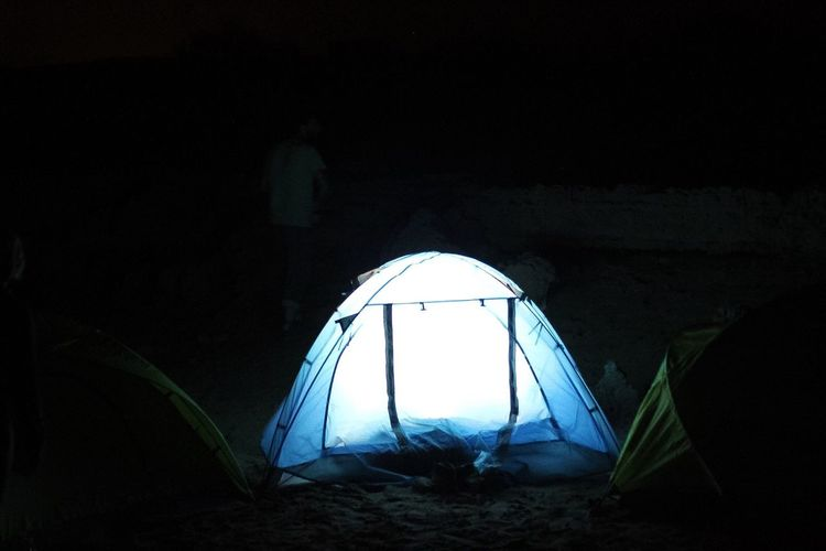 view of illuminated tent