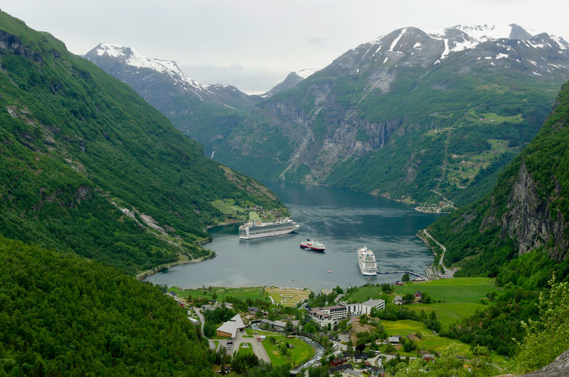 Cruise Ship Beauty In Nature Cruise Day Fjord Green Color High Angle View Liner Mode Of Transportation Mountain Mountain Range Nature Nautical Vessel Outdoors Plant Scenics - Nature Tranquil Scene Tranquility Transportation Travel Tree Water