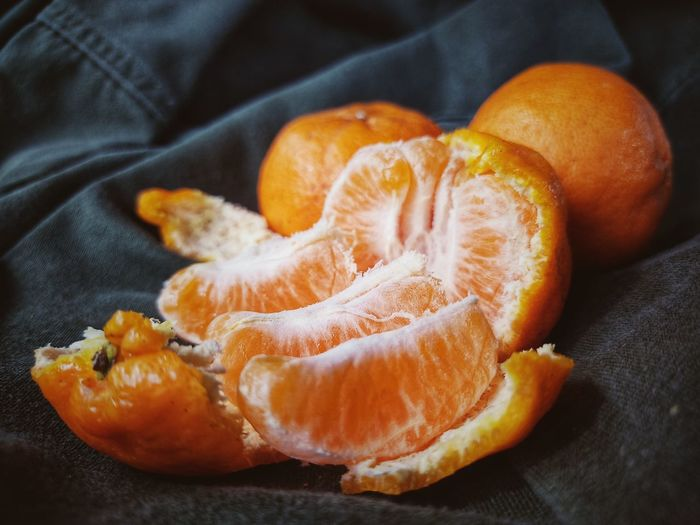 High angle view of orange slices on table