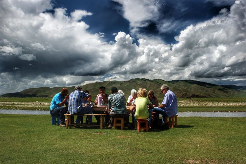 Mongolia Steppe Ongi River Meal Outdoors Монгол улс Nomadic Nomadic Life Real People Friendship Togetherness Full Length Social Gathering Sky Cloud - Sky Landscape Prepared Food