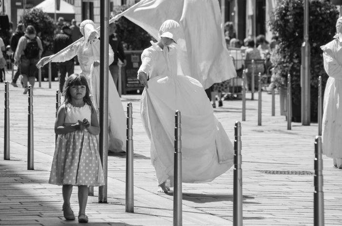 The Lady Vanishes, performed by Dudendance Theatre. From the 2016 Merchant City Festival Arts Black And White Bonnet Child City City Life Cultures Ghost Girl Glasgow  Glasgw Merchant City Merchant City Festival Outdoors People Portrait Scotland Street Photography Theatre Battle Of The Cities