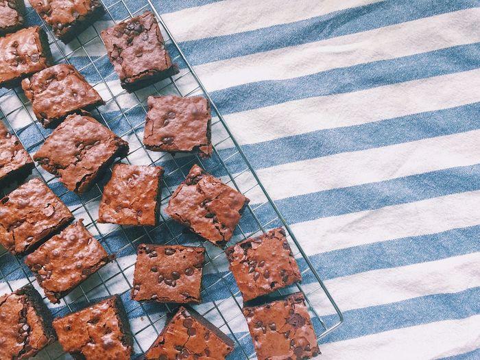 Homemade Dessert Brownie Sweet Chocolate Brownie Chocolatechip Baking Time Baking Food High Angle View