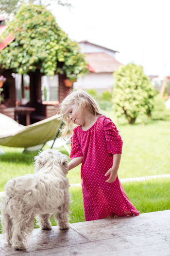 Rear view of girl with dog
