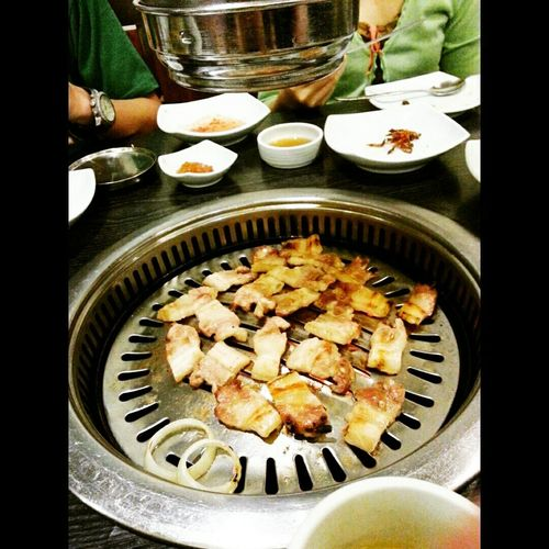 Enjoying A Meal Korean Food Samgyupsal Foodporn