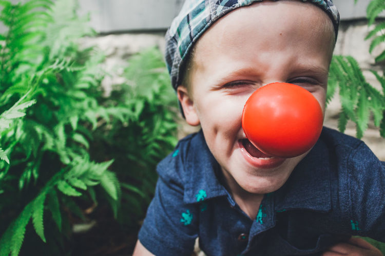 Boys Casual Clothing Childhood Close-up Clown Nose Day Focus On Foreground Food Freshness Front Or Back Yard Funny Kid Growth Innocence Nature One Person Outdoors Portrait Real People The Portraitist - 2017 EyeEm Awards