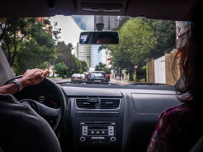 Viagem de carro. Car Human Body Part Transportation Driving Windshield Human Hand Car Interior Dashboard Point Of View People Adult Indoors  Day Trip Travel Sao Paulo - Brazil City City Life Real People
