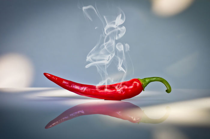 Red hot chilli pepper. Beauty Shot Blood-red Blue Grey Chilli Chilli Pepper Close-up Food Food And Drink Freshness Green Harvest Healthy Eating Hot Pepper Red Reflection Smoke Spotlight Still Life Studio Shot Vegetable Very Hot White Spots