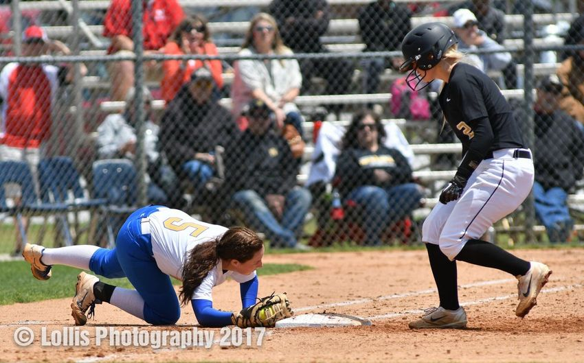 Bree McBride tags first base to finish the double play after catching a line drive during the Wren Hurricanes 1-3 loss to North Augusta in the AAAA playoffs. Softball Wren Softball Playoffs