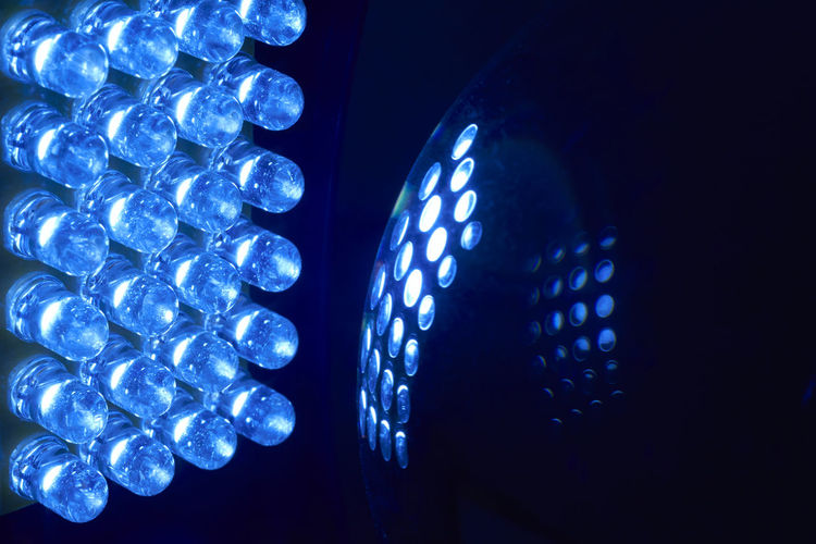 Close-up of blue illuminated led lights