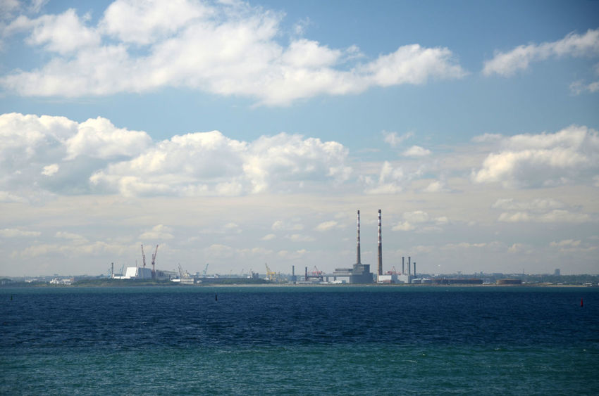 Across The Bay Dublin Bay Hazy  Sea Sea And Sky Sunny Day Tall Chimneys
