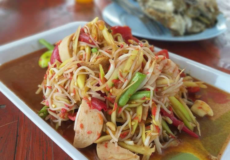 somtam Papaya Salad Plate Close-up Food And Drink Noodles Noodle Soup Soup Bowl Asian Food Thai Food Prawn Chopsticks Shrimp Spring Onion Stir-fried Soy Sauce Chinese Takeout Soup Ramen Noodles Spaghetti Serving Dish Chinese Food Sushi Sashimi  Salmon Served