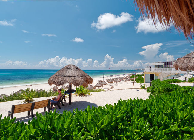 Caribbean beach and turquoise sea for a paradise landscape in Cancun, Playa delfines, Quintana Roo, Mexico Canon Cancun Mexico White Sand Water Sea Sky Nature Thatched Roof Beach Plant Beauty In Nature Roof Land Horizon Over Water Cloud - Sky Day Horizon Scenics - Nature Architecture Sunlight Built Structure Building Exterior Outdoors No People