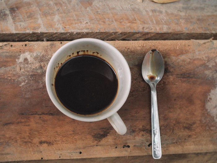 Food And Drink Eating Utensil Drink Cup Spoon Kitchen Utensil Refreshment Directly Above Mug Coffee Coffee - Drink Table Coffee Cup Freshness Food Indoors  Still Life Wood - Material Close-up No People Hot Drink Breakfast Crockery Non-alcoholic Beverage Tea Cup