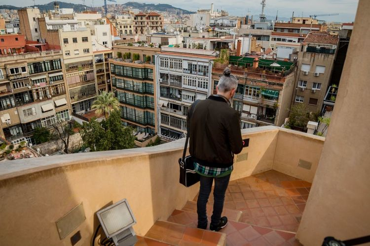 Architecture City Rear View Building Exterior Built Structure Senior Adult Adult Adults Only Cityscape Outdoors People Only Men Day One Man Only Portrait Of A City SPAIN España Sky And Clouds Horizontal City Street Famous Place Barcelona Street Photography