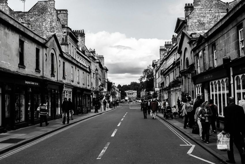 Architecture Bath Black & White Built Structure City City Life City Of Bath City Street Perspective Road Street United Kingdom