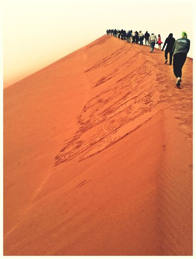 Dune 45 Sossusvlei Climbing Long Queue Dantesinferno Foggy Morning Freezing Impressive View Sossusvlei Desert - Namibia Namibia Q For Queue Q People And Places IPhoneography Amazing View From My Point Of View Finding New Frontiers To The Top Namib Desert Amazing Nature Amazing_captures People In Line Travel Photography Amazing Place