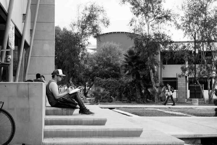 When you want to Read , anywhere's fine Campus Black And White