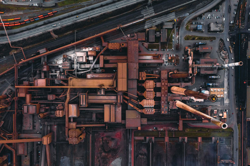 Aerial view of factory in city