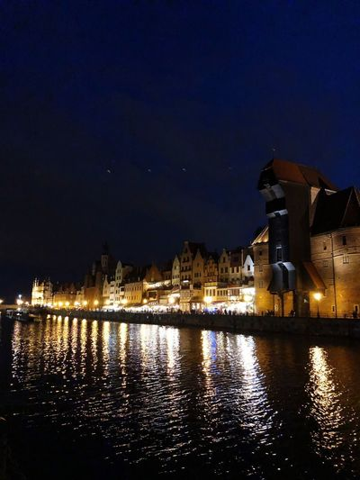 Gdańsk Old Town Night Water Illuminated Built Structure Sky Architecture Building Exterior Reflection City River Nature Dusk