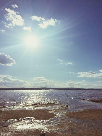 Salt lakes in Spain, Torrevieja Sky Sea Water Sunlight Landscape SaltLake
