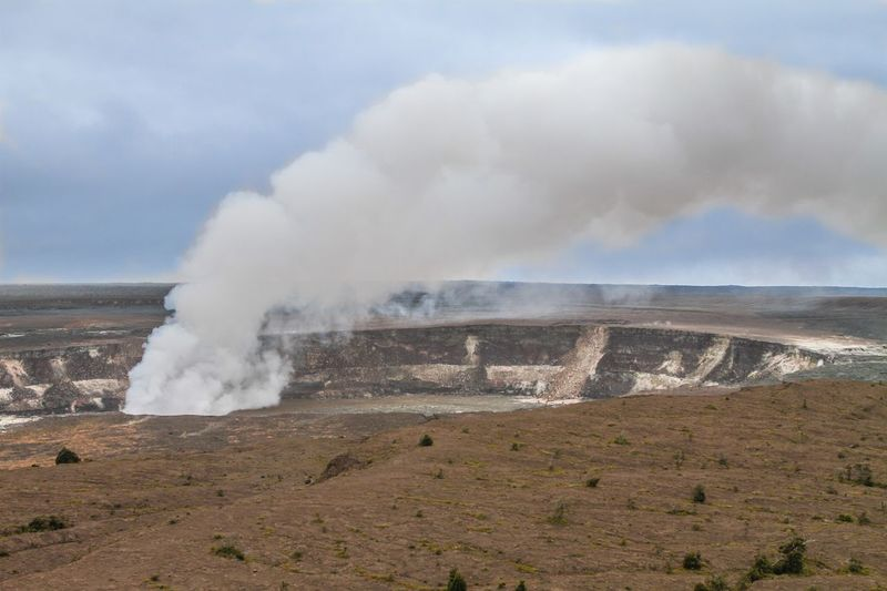 Steam Emitting From Crater At Hawaii Volcanoes National Park