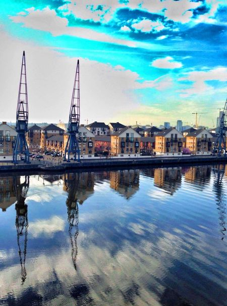 Into Dock Architecture City City Life Cranes Docklands London No People Outdoors Reflection Sky Standing Water Water Waterfront