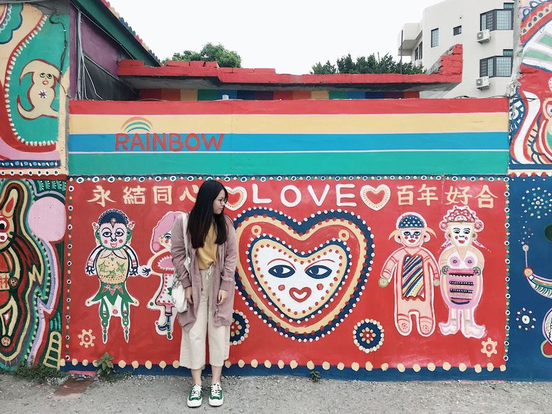 🇹🇼 Taichung Taiwan Beauty Rainbowmillipede Rainbow 彩虹眷村 Art And Craft Architecture Built Structure Full Length One Person Women Graffiti