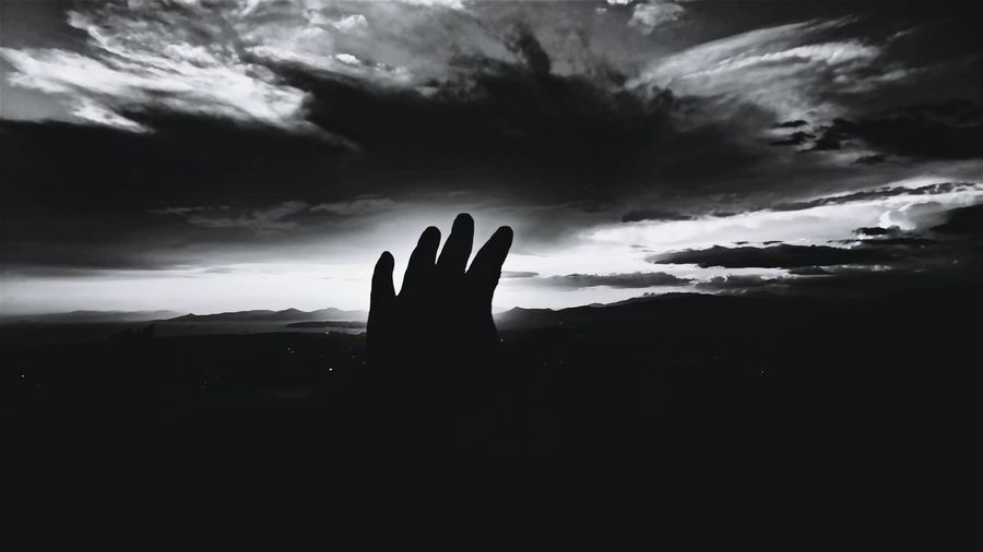 Hand Sky And Clouds Sky_ Collection Bw