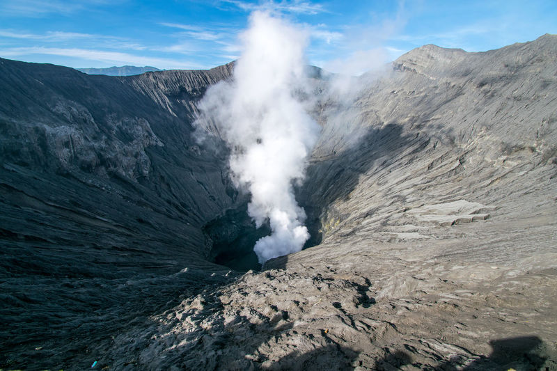 Bromo crater view from mountain peak