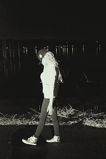 Full Length Night Standing One Person Arts Culture And Entertainment Outdoors Lifestyles Real People Portrait Adult Young Adult People Adults Only Nature Side View Ny Photography Fitted Yankees Photography Model Photoshoot Seashore Walking The Graphic City