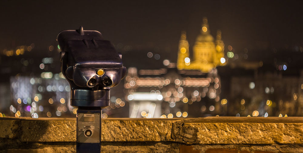 Coin-Operated Binoculars At Night