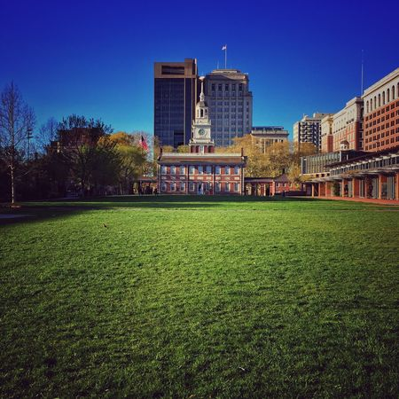 Philly Philadelphia Independence Hall Architecture Grass Building Exterior Clear Sky Built Structure City Blue Growth No People Green Color Outdoors Tree Sky Day Nature