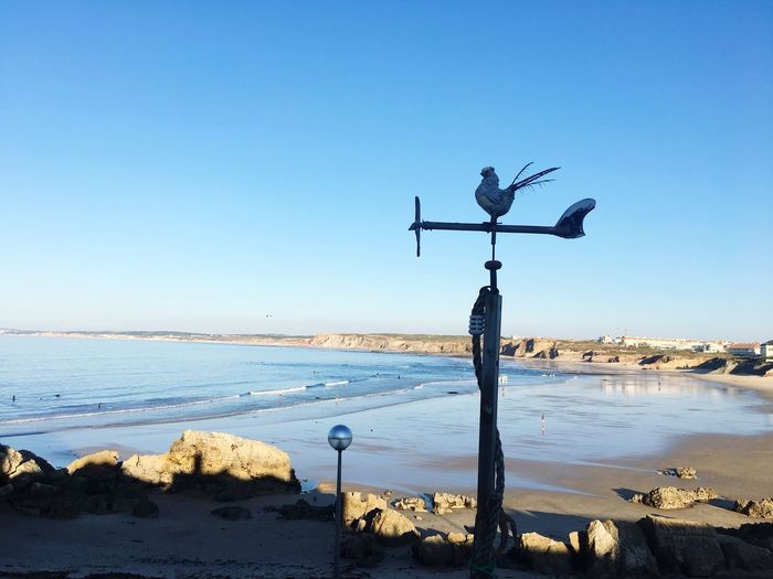 waiting for waves... Sky Water Clear Sky Sea Nature Weather Vane Beach Blue Copy Space Day Beauty In Nature No People Scenics - Nature Horizon Over Water Communication Outdoors Sunlight Horizon