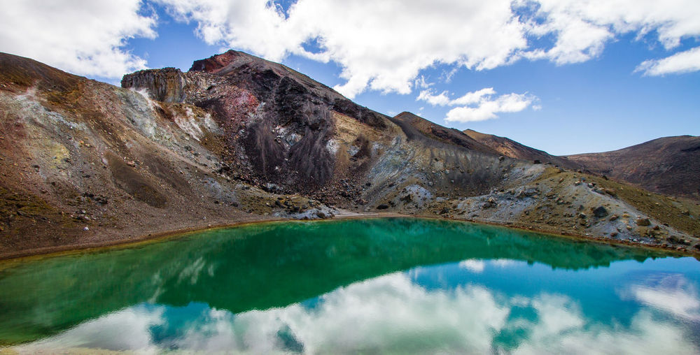 Rocky mountains reflecting in lake against sky