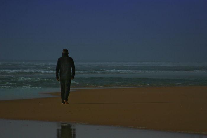 Beach Clear Sky Figure Horizon Over Water Nature Ocean Plage Sea Silouhette Tranquil Scene Walking Alone...