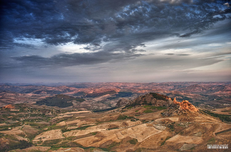 Sicily, Italy Arid Climate Beauty In Nature Cloud - Sky Land Landscape Mountain Mountain Range Nature No People Non-urban Scene Outdoors Remote Scenics - Nature Sky Sunset Tranquil Scene Tranquility