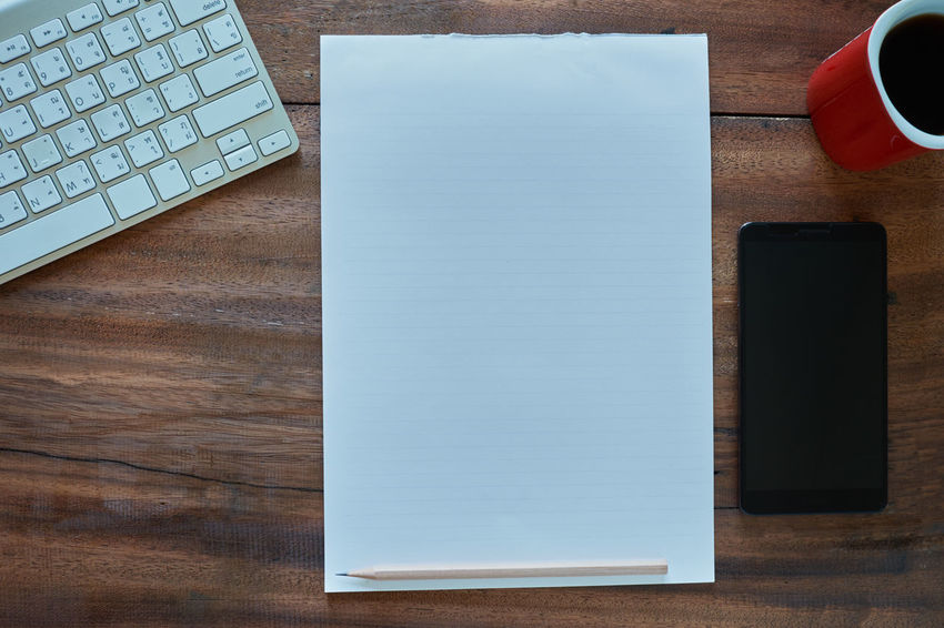 Blank Blank Paper Close-up Communication Computer Computer Key Computer Keyboard Connection Desk Directly Above Food And Drink High Angle View Indoors  Keyboard Laptop No People Pencil Portable Information Device Still Life Table Technology Wireless Technology Wood - Material
