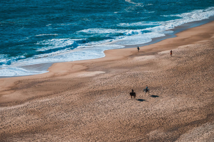 People riding horses on the amazing and large beach in Nazaré in Portugal Beach Photography Horses Romantic Beach Beachphotography Beauty In Nature Getaway  Horse Photography  Nature Outdoors Real People Riding Horses Sand Sea Water Wave Summer Exploratorium