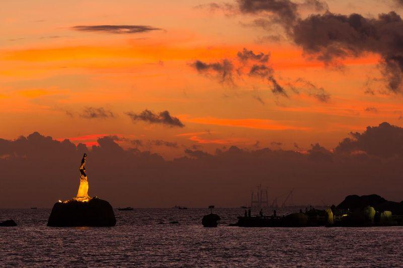 Sunrise Sky Orange Color Water Sea Cloud - Sky Transportation Outdoors No People Environment Dramatic Sky Travel Destinations