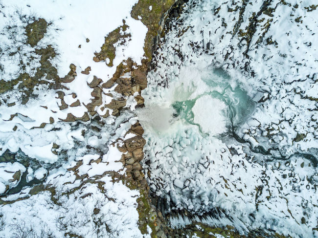 A wintery Svartifoss waterfall from above. Arial Beauty In Nature Close-up Cold Temperature Day Drone  From Above  Frozen High Angle View Iceland Mavic Pro Nature No People Outdoors Power In Nature Snow Svartifoss Water Waterfall Winter Fresh on Market 2017 The Great Outdoors - 2017 EyeEm Awards Perspectives On Nature Shades Of Winter