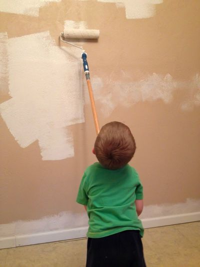 Painting the Wall Rear View Home Improvement DIY One Person Childhood Indoors  Real People Paint Roller Standing Working Domestic Life Day People Children Child Painting Wall