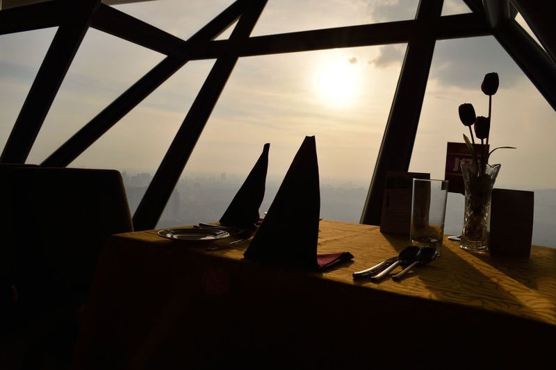 360 Panorama Architecture Built Structure Classy Close To The Sun Cuttlery Day In The Sky Indoors  KL TOWER Kuala Lumpur Napkin No People Restorant Shadows Silhouette Silhouettes Sky Skyline Sunset Table Table Setting Top Of The World Travelling View From Above Miles Away Live For The Story