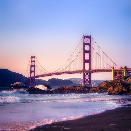 Golden gate bridge over sea
