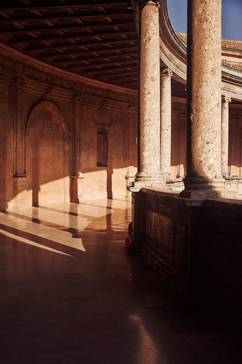 The Palace Of Charles V El Palacio De Carlos V Architecture Architectural Column The Past History Arcade Travel Destinations Colonnade Sunlight Building Alhambra Granada, Spain Capture Tomorrow Architecture Old Ancient Arts Culture And Entertainment Colonnade Day No People Built Structure