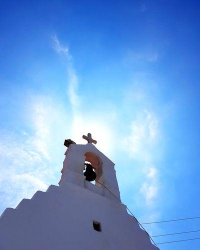 Religion Sky Mykonos Mykonos Island Mykonostown Church Church Architecture Greece Buildings & Sky Building And Sky Sunlight Sunshine Sun Church Bell Churches Church Bells Blue Sky Clear Sky No Clouds Sunny Greek Greek Islands Cyclades Cyclades Islands Cross
